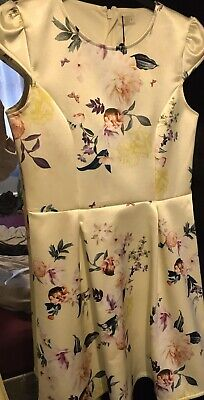 Bnwt New Girls Yellow Lipsy Floral Pretty Occassions Wedding Guest Dress Age 14