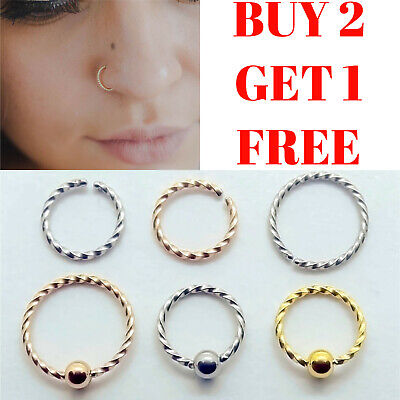 Nose Ring Nose Hoop Surgical Steel Tragus Cartilage Helix Ear Nipple Piercing