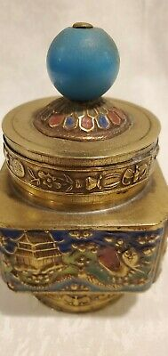 Antique brass with enamel Chinese snuff, opium, tea box, four sided painted