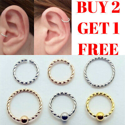 Tragus Helix Ear Nose Ring Hoop Lip Nipple Cartilage Earring Small Thin Piercing