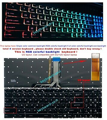 New MSI GT72VR 6RD GT72VR 6RE 7RE Dominator Pro Keyboard US Backlit Crystal Key