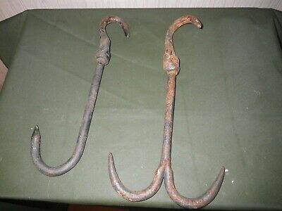 Pair antique rustic wrought iron butchers/game hooks ( hunting, fishing salvage)