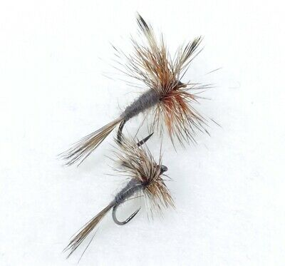 10 mosche secche BARBLESS pesca mosca fly fishing dry flies Adams