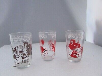 "Vintage 2 Childrens Jelly Jar Glass Red & Brown 3.3/4"" Tall"
