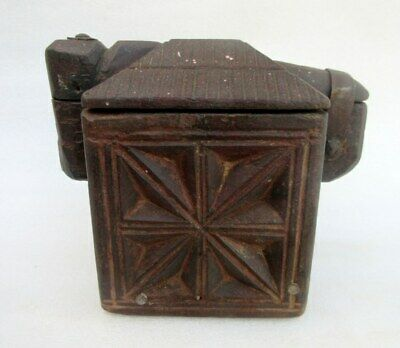 1850's Old Indian Antique Hand Carved Wood Kitchenware Unique Carving Lid Box