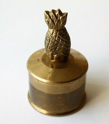 Vintage Solid Brass Pineapple Box Heavy Round Trinkets Stamps Jewelry Coins