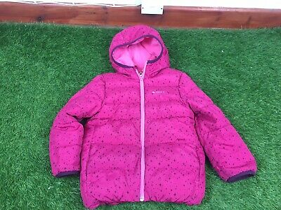 Girls Decathlon Quechua Pink Star Pattern Hood Puffa Style Coat Age 4-6 Years