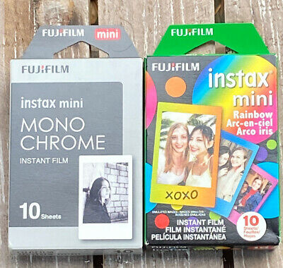 FUJIFILM** Instax mini**Mono-Chrome & Rainbow**Instant Film**Lot Of 2(20 Sheets)