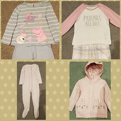 2-3 Girls Pyjamas/Nightwear/All-in-one/Babygrow Loungewear Bundle
