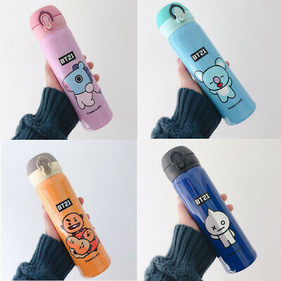 BT21 New Stainless Steel Insulated Thermos Cup Flask Travel Mug Water Bottle