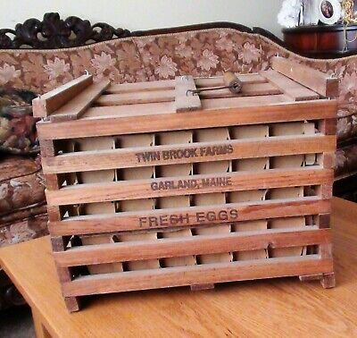 VTG Twin Brook Farms Egg Carrier Crate W/Cardboard Insert Old Wood Primitive Box