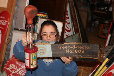 Vintage 1940's Freez-D-Tector Anti-Freeze Tester Metal Oil Can Gas Station Sign
