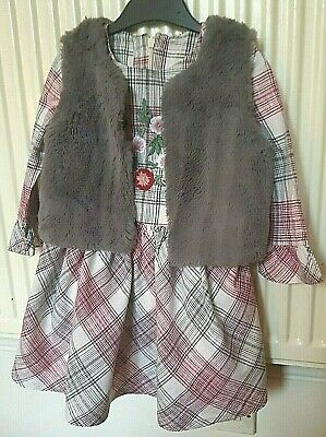 M&S Girl Checked Dress and Faux Fur Gillet Set 2-3 Years