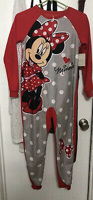 NWT Disney Minnie Mouse One Piece Red Pajamas Jumpsuit Zip Up Girls sz 10-12