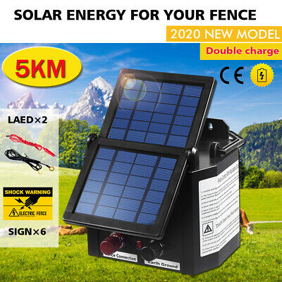 NEW 5km Solar Electric Fence Energiser Energizer Charger 0.15J Farm Charger Tape