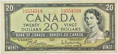 1954 Bank of Canada $20 BC-41b - Modified Portrait ,Serial D/W3554519- #36095