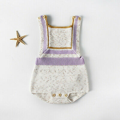 Newborn Infant Baby Girls Boys Knitted Toddler Overall Jumpsuit Clothes Outfits