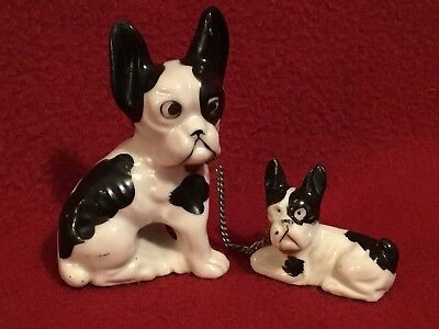 "Vintage Boston Terriers ""Dog with Pup on a chain"" ceramic figurines"
