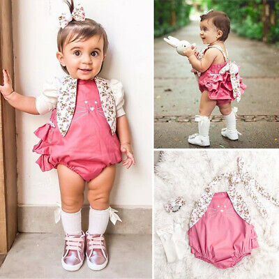 2020 Easter Newborn Baby Girl Bunny Romper Outfit Clothes Set Headband Jumpsuit