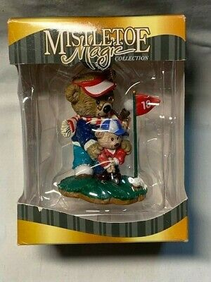 "Mistletoe Magic Collection Christmas Ornament "" Bears Playing Golf"" NEW"