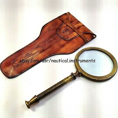 Brass Magnifying Glass Vintage Collectible Magnifier With Leather Cover 10 inch