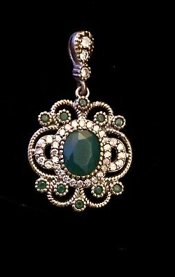 Antique Vintage Roxelana Style Emerald Topaz Pendant Necklace