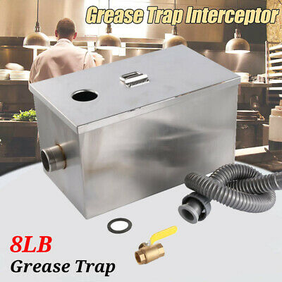 8LB 5GPM Per Minute Grease Trap Stainless Steel Interceptor Filter Commercial WT