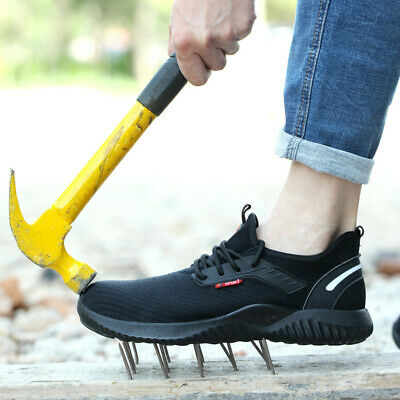 NEW Mens Safety Shoes Trainers Steel Toe Work Boots Sports Hiking Shoes Sneakers