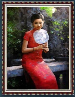 """Hand painted Original Oil Painting Portrait art chinese girl on canvas 24""""x36"""""""