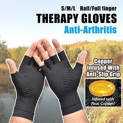 Anti Arthritis Copper Fingerless Gloves Compression Therapy Circulation