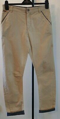 Designer TED BAKER beige trousers with navy trim, age 13 yrs