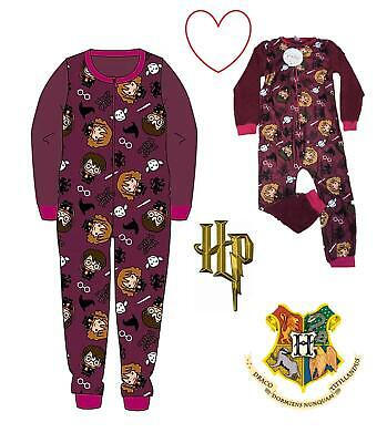 Hogwarts Harry Potter Official Licensed Fleece All In One Pjs Kids Girls Boys