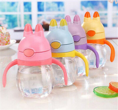 Toddler Baby Kids Feeding Drinking Water Straw Bottle Sippy Suction Cup KI