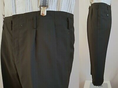 Vtg 1950s Pleated Cuffed Button Fly Hollywood Waist Wool Trousers W38 L26 LB14