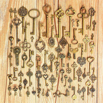 Setof 70Antique Vintage Old LookBronze Skeleton Keys Fancy Heart Bows Pendant CR