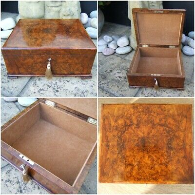 ANTIQUE 19c BURR WALNUT DOCUMENT/JEWELLERY BOX - FAB INTERIOR -POSSIBLE TIFFANY