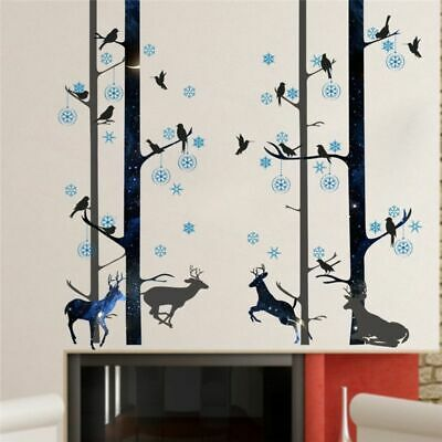 Wall Sticker Home Decor Forest Deer Bird Trees Living Room Bedroom House Decors