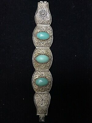 Chinese antique silver filigree natural turquoise bracelet