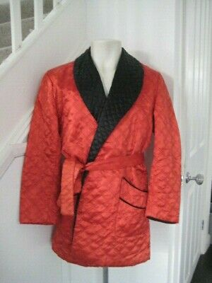 Superb Vintage Tootal Quilted Red Black Smoking Jacket Dressing Gown Robe Satin