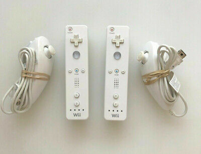 2 x Official Nintendo Wii Remote Controller And Nunchuck Wiimote Nunchuk