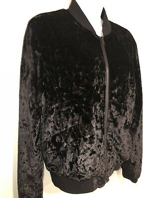 Cloud Chaser Size L Black Crushed Velvet Bomber Jacket Zip Front Lined $58 EUC!