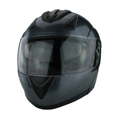 Full Face Modular Flip Up DOT Motorcycle Helmet with Dual Visor Carbon Finish