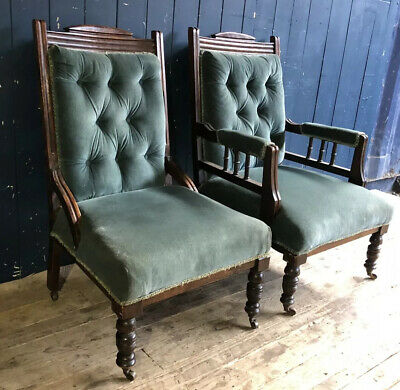 Pair Antique Late 19th Early 20th Century Library Lounge Chairs Carved DELIVERY*