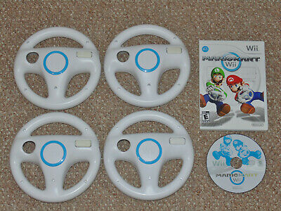 Mario Kart Wii Nintendo Wii with 4 Authentic Wii Wheels Lot RVL-024