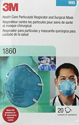 3M 1860 Surgical Mask N95 Cup Elastic Strap Adult Size Respirator One Box of 20