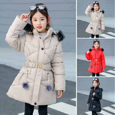 Kids Girls Hooded Coats Warm Winter Outwear Casual Slim Fur-lined Overcoat Parka