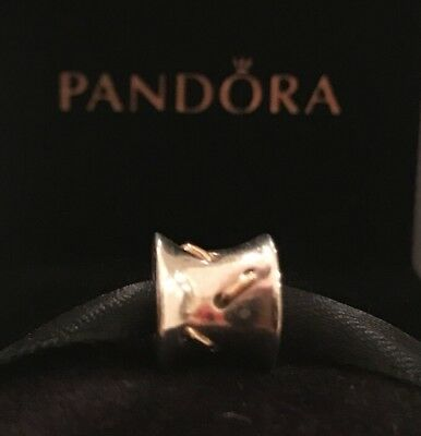 Authentic Pandora Lace Stitches Charm Retired Pandora Sterling Silver W/14k Gold
