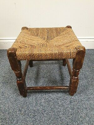 Vintage rush seat foot stool wooden legs rustic country style