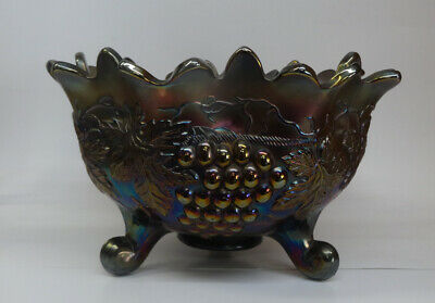 """Tri Footed Carnival Glass Northwood Grape & Cable Fruit Bowl 11"""""""