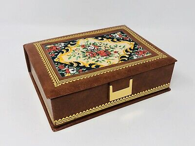 Vintage Floral Mock Leather Brown Jewelry Box Green Felt Mirror Earing Rings